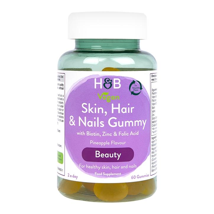 Holland & Barrett Skin Hair And Nails Vegan Pineapple Flavour  60 Gummies