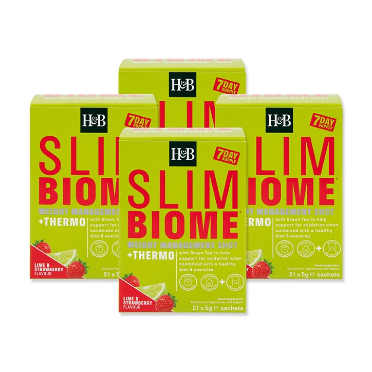 Holland & Barrett Slimbiome Thermo Strawberry & Lime Flavour 28 Day Bundle