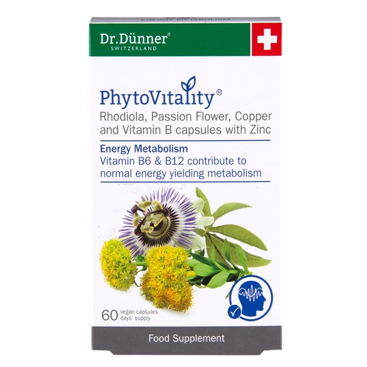 Dr Dunner PhytoVitality Rhodiola, Passion Flower, Copper and Vitamin B with Zinc 60 Capsules