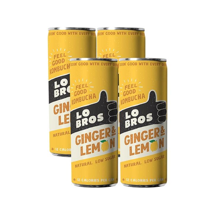 Lo Bros Organic Kombucha Ginger & Lemon 4 x 250ml