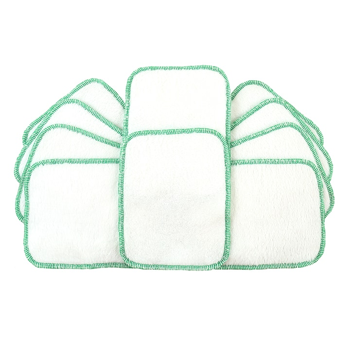 TotsBots Double-sided Reusable Wipes - White 10 pack