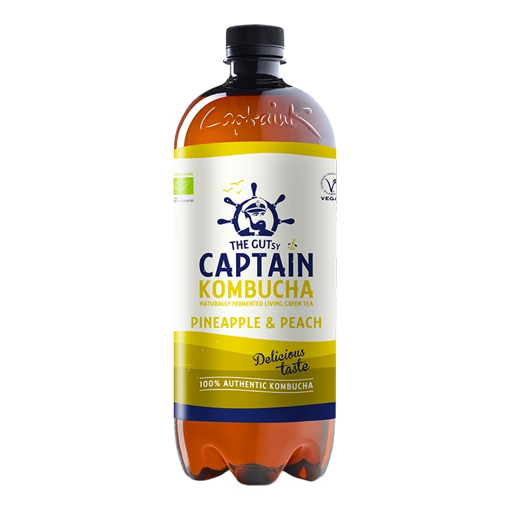 The GUTsy Captain Kombucha Pineapple Peach Kombucha 1 litre