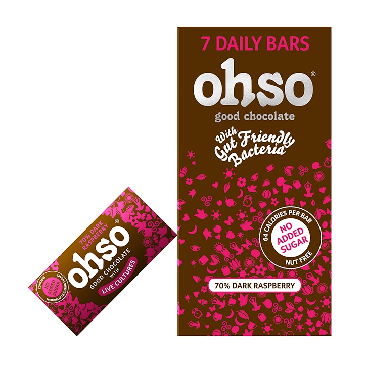 Ohso 70% Dark Chocolate Raspberry Bar No Added Sugar 7 x 13.5g