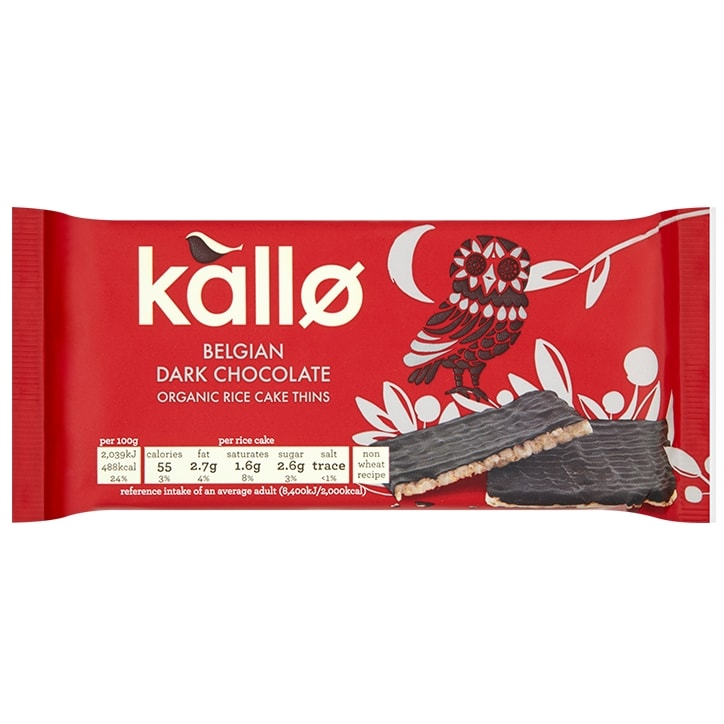 Kallo Organic Dark Chocolate Rice Cakes Thins 90g