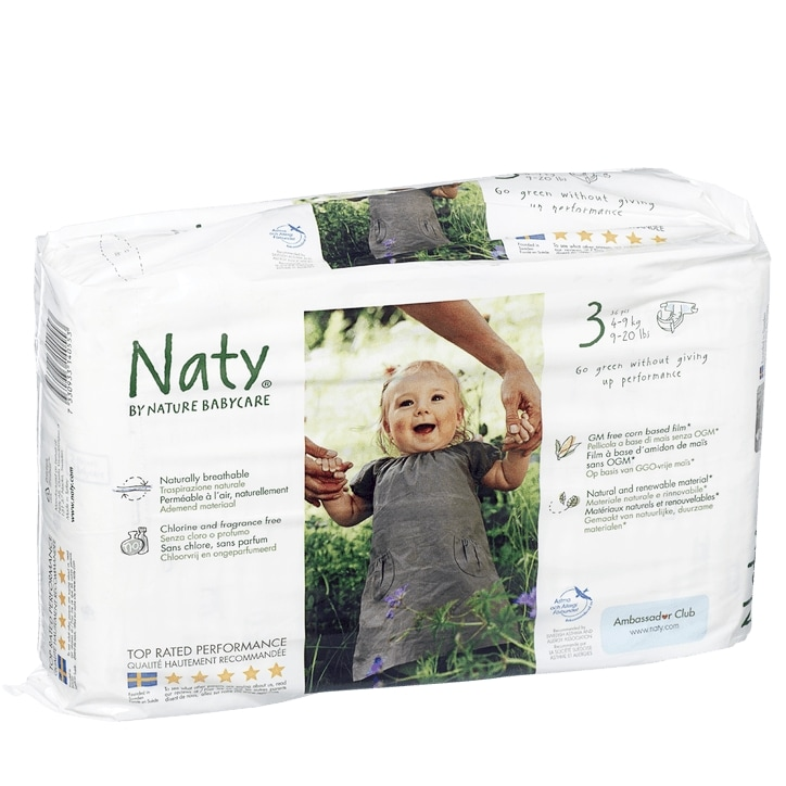 Naty By Nature Natural Nappies Size 3 Small 36 Pack