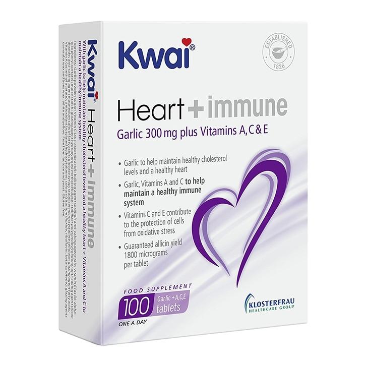 Kwai Heart and Immune Garlic 300mg Plus Vitamins A, C & E 100 Tablets