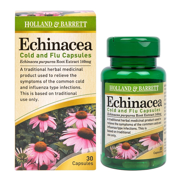 Holland & Barrett Echinacea Cold & Flu 30 Capsules 140mg