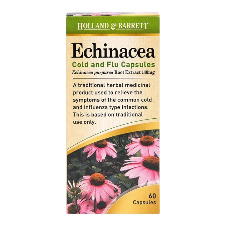 Holland & Barrett Echinacea Cold & Flu 60 Capsules 140mg