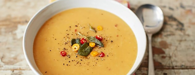 Pumpkin and parsnip soup with crispy sage and chilli