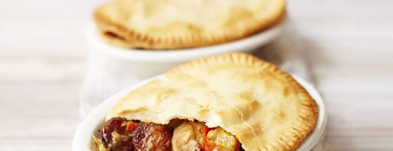 Meat-free pot pies with chicken, chorizo and cider image