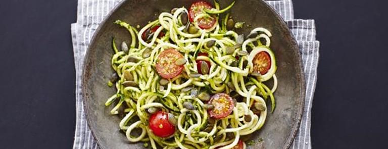 Courgette 'Spaghetti' with Nut-Free Spinach Pesto