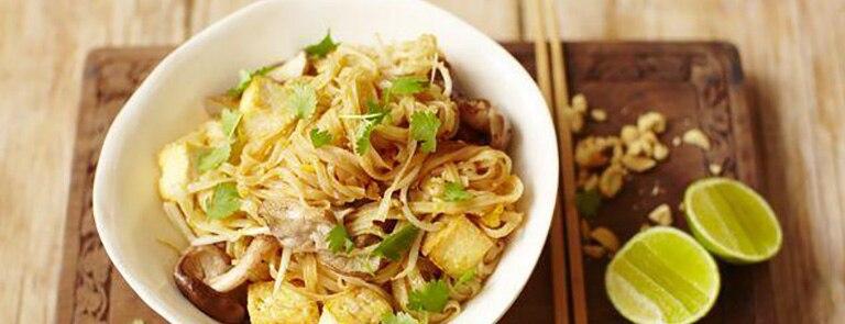 Tofu and Shitake Mushroom Pad Thai