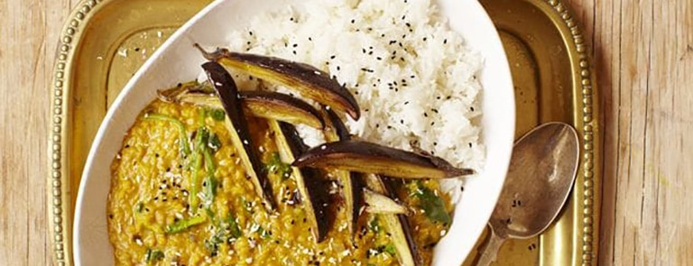 Aubergine daal with coconut