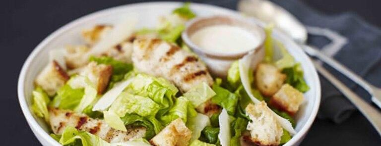 Egg-free meat-free chicken caesar salad