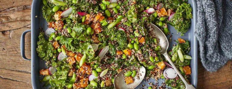 Roasted Squash, Quinoa and Kale Asian Salad