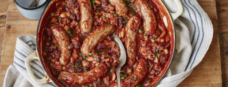 Bonfire Night bean and meat-free sausage casserole image