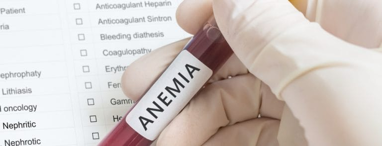 A list of illnesses with a blood sample labeled anemia