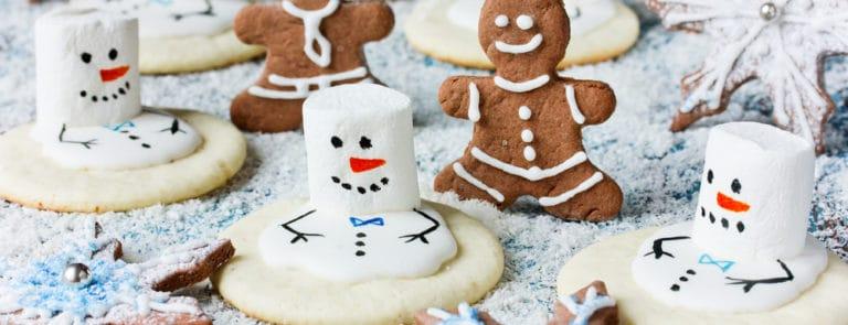 Christmas Cookies - melting snowman, gingerbread man, gingerbread snowflake