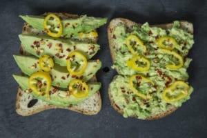 avocado and chilli on bread