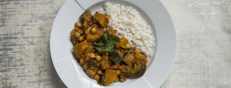 Chickpea, aubergine & squash curry recipe image