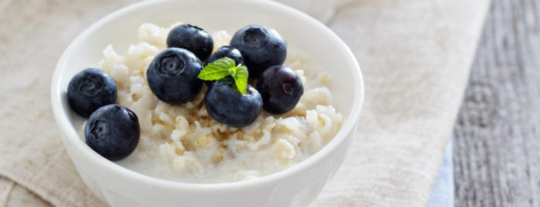 Rice pudding with maple syrup and blueberries