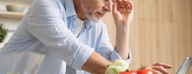 Man preparing salad