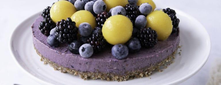 Mango, Poppy Seed and Blueberry Vegan Cheesecake
