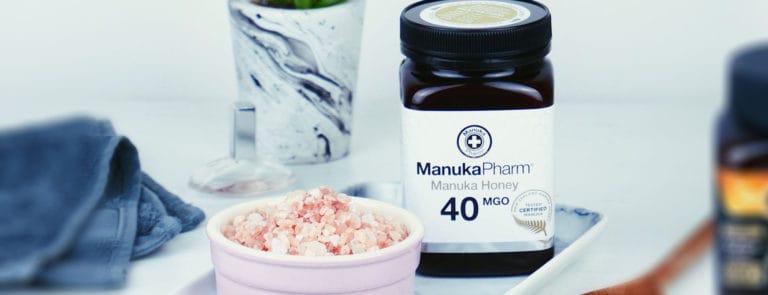 Pink salt and honey body scrub