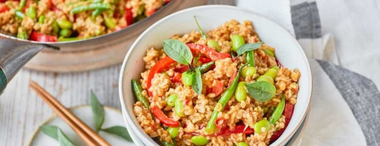 One Pot Dishes: Red Thai Curry Stir Fry with Freekeh image