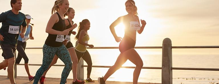 Runners taking part in a marathon race, an endurance sport