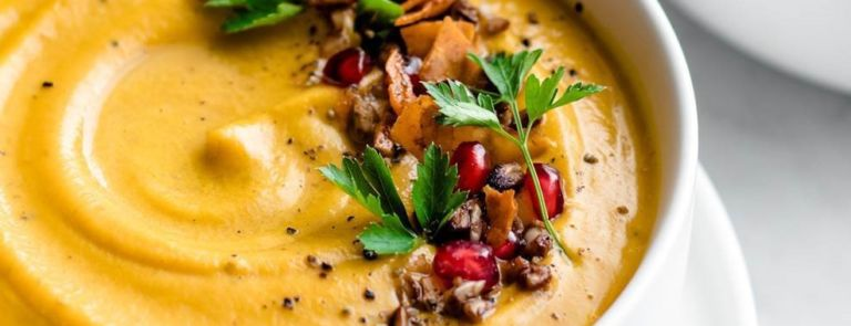 pumpkin soup with toppings