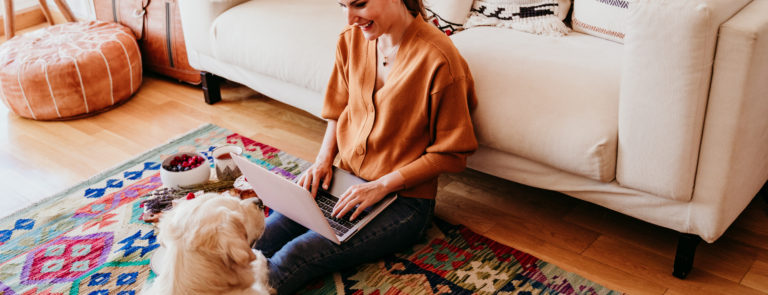 woman happy at home