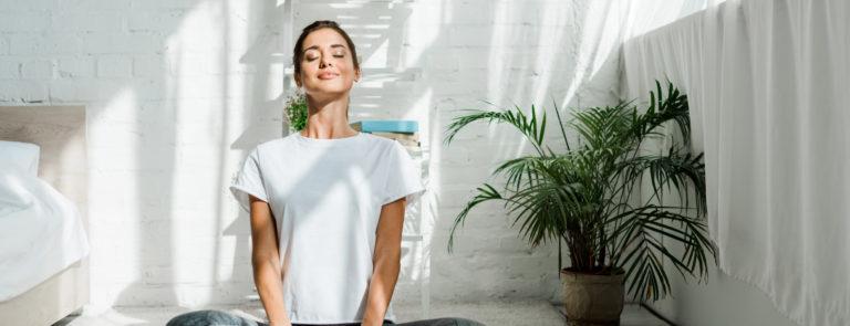 a beginner doing morning yoga