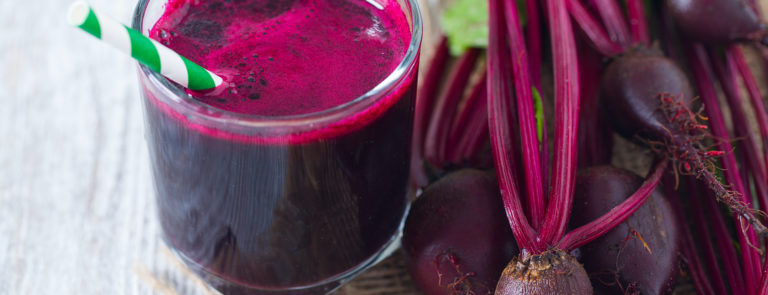 fresh beetroot juice in a glass