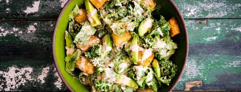 Vegan Caesar Salad with Kale & Avocado image