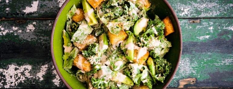 Vegan Caesar Salad with Kale & Avocado