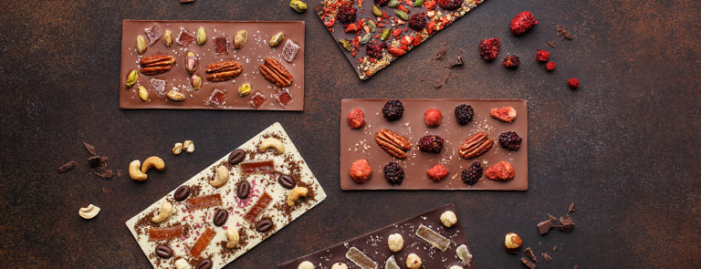 Four Vegan Chocolate Slabs, with added dried fruit and nuts