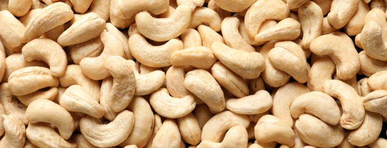An array of cashew nuts.