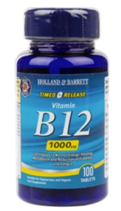 A bottle of Holland & Barrett Vitamin B12 Tablets.