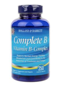 A blue bottle of Holland & Barrett Complete B Vitamin B Complex Caplets.