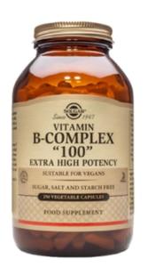 A bottle of Solgar Vitamin B- Complex Tablets.