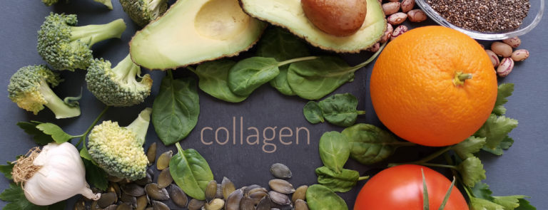 A variety of collagen rich foods including, broccoli, garlic, tomatoes, nuts and leafy greens.