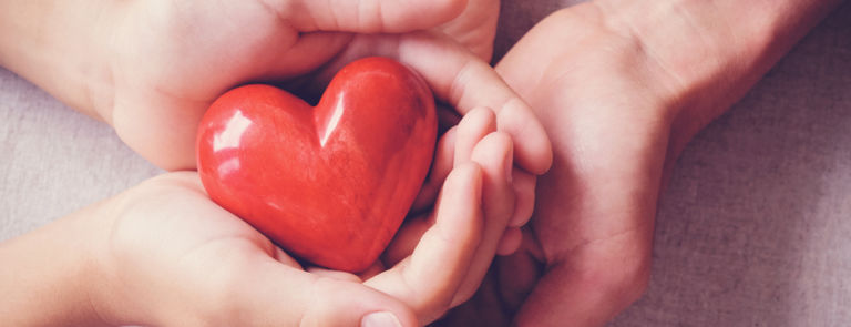 adult and child's hands holding a red heart